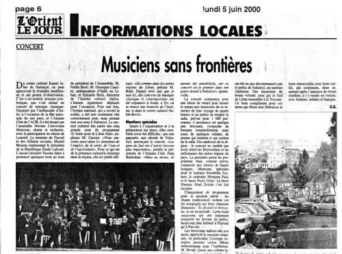 2000_L'orient le jour_Musicisti-senza-frontiere